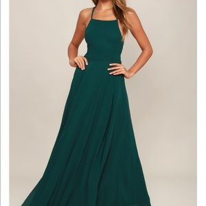 NWT forest green Backless maxi